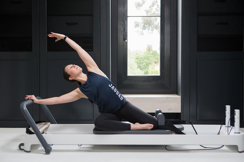 flexibility exercises on pilates reformer